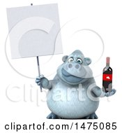 Poster, Art Print Of 3d White Monkey Yeti Holding A Wine Bottle And Sign On A White Background