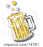 Bubbly And Frothy Mug Of Beer Spilling Over The Rim Of A Mug Clipart Illustration