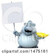 Poster, Art Print Of 3d White Monkey Yeti On A White Background