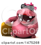 Clipart Of A 3d Pink Henrietta Hippo Character With Luggage On A White Background Royalty Free Illustration