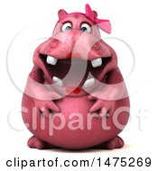 3d Pink Henrietta Hippo Character On A White Background
