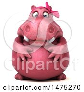 Clipart Of A 3d Pink Henrietta Hippo Character On A White Background Royalty Free Illustration