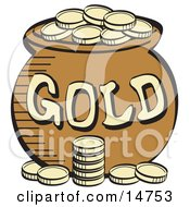 Stack Of Gold Coins Near A Pot Of Leprechauns Gold Clipart Illustration