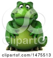 Clipart Of A 3d Green Tommy Tyrannosaurus Rex Dinosaur Mascot On A White Background Royalty Free Illustration by Julos