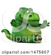 Clipart Of A 3d Green Tommy Tyrannosaurus Rex Dinosaur Mascot On A White Background Royalty Free Illustration