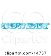 Blue Western Cowboy Restroom Sign Clipart Illustration