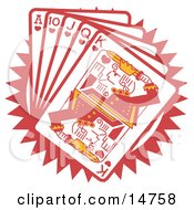 Hand Of Red Playing Cards Including The Ace Of Hearts 10 Of Hearts Jack Of Hearts Queen Of Hearts And King Of Hearts Clipart Illustration