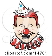 Jolly Freckled Boy With A Red Clown Nose Party Hat And Collar Laughing