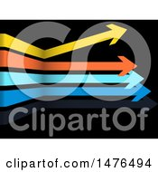 3d Colorful Horizontal Arrows On Black