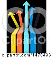 Clipart Of 3d Colorful Vertical Arrows On Black Royalty Free Vector Illustration by elaineitalia