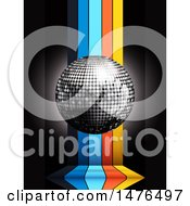 Clipart Of A 3d Silver Disco Ball Over Vertical Colorful Stripes On Black Royalty Free Vector Illustration