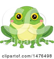 Clipart Of An Dorable Green Frog With Blushing Cheeks Royalty Free Vector Illustration