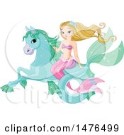 Clipart Of A Mermaid Riding A Sea Horse Royalty Free Vector Illustration by Pushkin