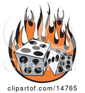 Pair Of Dice Rolling Over Flames At A Casino Clipart Illustration