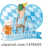 Clipart Of A German Man Holding Out A Beer Over A Heart And Oktoberfest Banner Royalty Free Vector Illustration