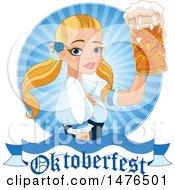 Blond Beer Maiden Holding Up A Mug Over An Oktoberfest Banner