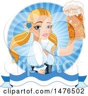 Blond Oktobefest Beer Maiden Holding Up A Mug Over A Banner