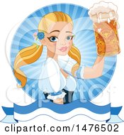 Clipart Of A Blond Oktobefest Beer Maiden Holding Up A Mug Over A Banner Royalty Free Vector Illustration