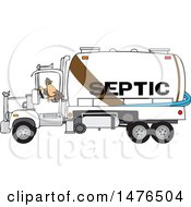 Worker Backing Up A Septic Pumper Truck