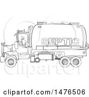 Black And White Worker Backing Up A Septic Pumper Truck