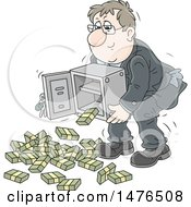 Clipart Of A Caucasian Business Man Lifting A Safe Bundles Of Cash Falling Out Royalty Free Vector Illustration by Alex Bannykh