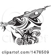 Clipart Of A Woodcut Giant Squid Attacking A Steampunk Submarine The Nautilus Black And White Royalty Free Vector Illustration by xunantunich