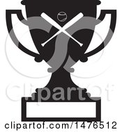 Clipart Of A Silhouetted Sports Trophy Cup With A Baseball And Bats Over A Blank Panel Royalty Free Vector Illustration