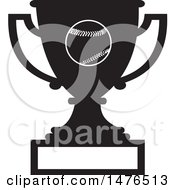 Clipart Of A Silhouetted Sports Trophy Cup With A Baseball And Blank Panel Royalty Free Vector Illustration