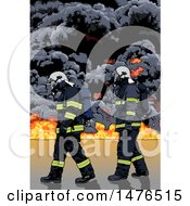 Firemen Against Smoke And Flames