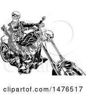 Clipart Of A Black And White Skeleton Biker Holding Up A Middle Finger On A Chopper Royalty Free Vector Illustration