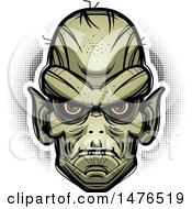 Clipart Of A Goblin Head Over Halftone Royalty Free Vector Illustration by Cory Thoman