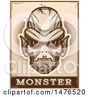 Clipart Of A Goblin Head Over A Monster Banner In Sepia Royalty Free Vector Illustration by Cory Thoman