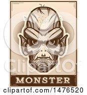 Poster, Art Print Of Goblin Head Over A Monster Banner In Sepia