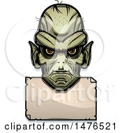 Clipart Of A Goblin Head Over A Blank Sign Royalty Free Vector Illustration by Cory Thoman