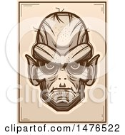 Clipart Of A Goblin Head Sepia Poster Royalty Free Vector Illustration by Cory Thoman