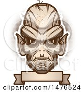 Clipart Of A Goblin Head Over A Blank Banner Royalty Free Vector Illustration by Cory Thoman