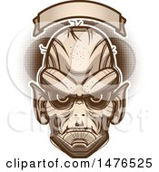 Clipart Of A Goblin Head Under A Blank Banner Royalty Free Vector Illustration by Cory Thoman