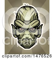 Clipart Of A Goblin Head Over Rays Royalty Free Vector Illustration by Cory Thoman