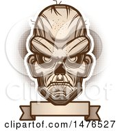 Clipart Of A Zombie Head Over A Blank Banner Royalty Free Vector Illustration