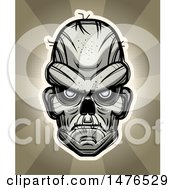 Clipart Of A Zombie Head Over Rays Royalty Free Vector Illustration