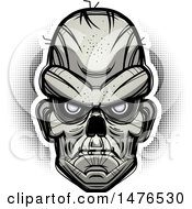 Clipart Of A Zombie Head Over Halftone Royalty Free Vector Illustration by Cory Thoman