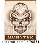 Poster, Art Print Of Zombie Head Over A Monster Banner In Sepia