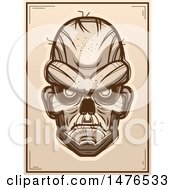 Clipart Of A Zombie Head Sepia Poster Royalty Free Vector Illustration