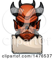 Demon Head Over A Blank Sign