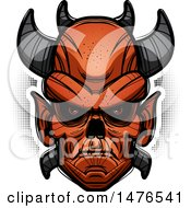 Clipart Of A Demon Head Over Halftone Royalty Free Vector Illustration by Cory Thoman