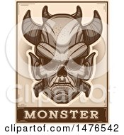 Clipart Of A Demon Head Over A Monster Banner In Sepia Royalty Free Vector Illustration by Cory Thoman