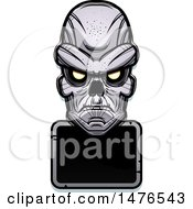 Clipart Of A Ghoul Head Over A Blank Sign Royalty Free Vector Illustration