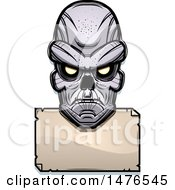 Ghoul Head Over A Blank Sign