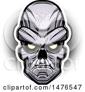 Clipart Of A Ghoul Head Over Halftone Royalty Free Vector Illustration