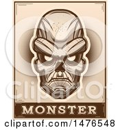 Poster, Art Print Of Ghoul Head Over A Monster Banner In Sepia